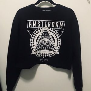 Sweaters - Cropped Graphic Sweater